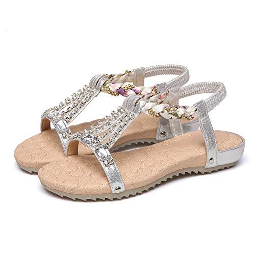 joyas de Cristal Sandalias de Boho de Las Mujeres de Las Sandalias con Los Zapatos de la Playa ocasional de Diamantes de imitación joya de Verano leen