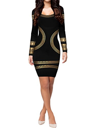 Miusol Damen Langarm U-Ausschnitt Foliendruck Cocktailkleid Bodycon Party Stretch Mini Kleid Schwarz EU 36/S