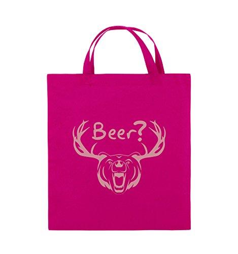 Comedy Bags - Beer? - BÄR GEWEIH - Jutebeutel - kurze Henkel - 38x42cm - Farbe: Schwarz / Pink Pink / Rosa