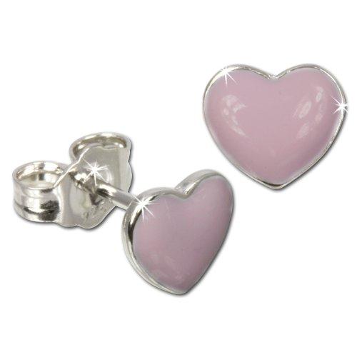 Teenie-Weenie SDO8100W-Orecchini per bambini Cuore Rosa in argento Sterling 925orecchini gioielli per bambini sdo601a