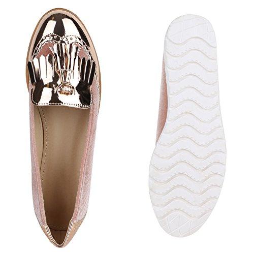 Damen Slipper Lack | Plateau Loafers | Metallic Schuhe Profilsohle | Loafer Flats Glitzer | Slippers Quasten Lochung Rose Gold Cabanas