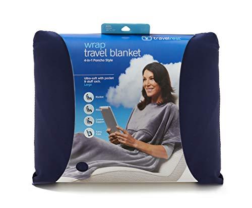 Travelrest® 4-in-1 - Poncho-Reisedecke mit Tasche - Bedeckt die Schultern - Weich & Luxuriös (Blau, 96 x 183 cm 25 x 33 cm) -