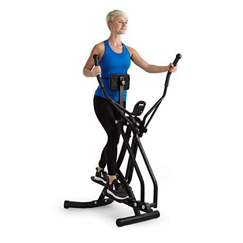 Klarfit Bogera X Crosstrainer, ergonomischer Air Walker mit Trainingscomputer, Bauchpolster, platzsparend, gelenkschonendes Ganzkörpertraining, klappbar, max. 100 kg Gewicht, schwarz