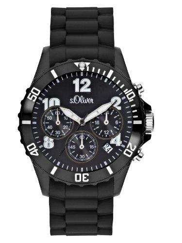 s.Oliver SO-2322-PC - Reloj para caballero de silicona Resistente al agua negro
