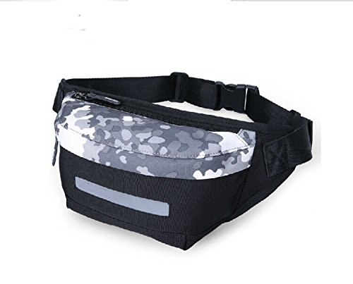 Taille Pack Messenger Bag Multifunktions Outdoor Sports Casual Leinwand mit Handy Tasche & Automatische Regenschirm & kleine persönliche Was für Männer und Frauen Verwenden schwarz - schwarz