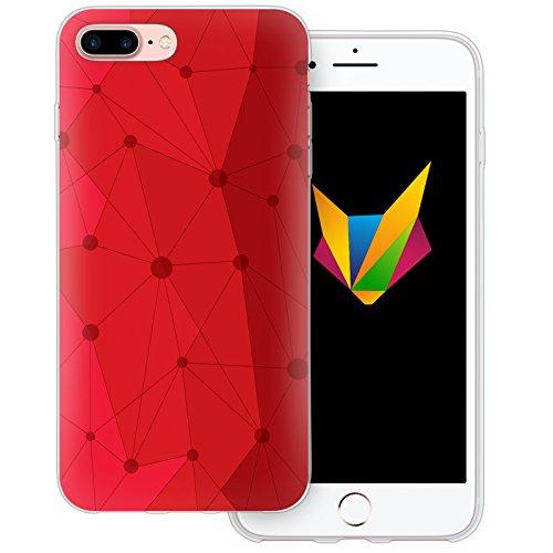 Mobilefox Grafik transparente Silikon TPU Schutzhülle 0,7mm dünne Handy Soft Case für Apple iPhone 7 Plus Grafik Atomium Rot