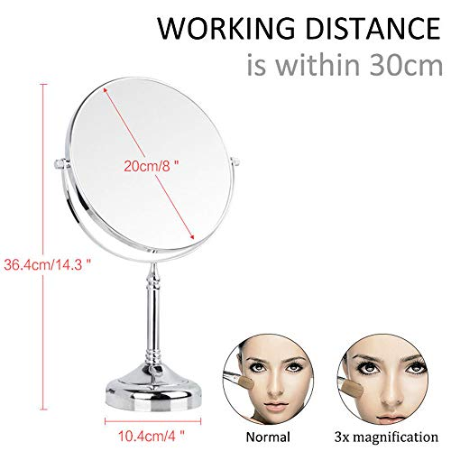 8 Zoll Double Sided Standing Kosmetikspiegel, Vergrößerung & Regular Professional 360 Rotating Brass Vanity Cosmetic Chrome,8Inch,3X
