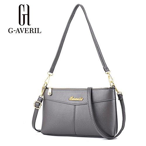 (G-AVERIL) Donna Borsa a Handbag spalla Borsa Tote Borsa a Mano in pelle grigio