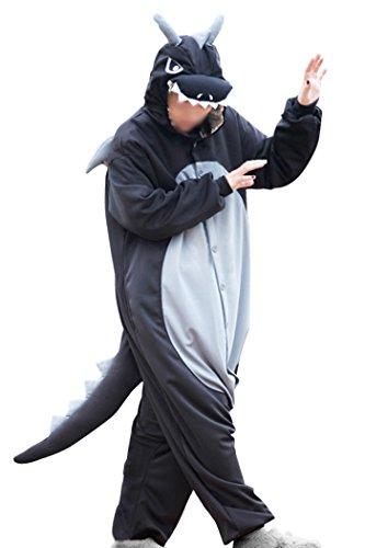 wotogold Tier Schwarzer Drachen Pyjama Unisex Erwachsene Cosplay Kostüme with Horn Black (Schwarz Drachen Kostüme)