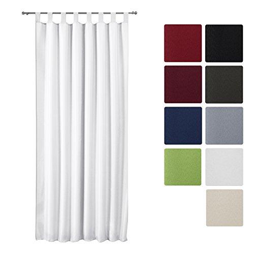 Beautissu Blickdichter Schlaufen-Vorhang Amelie - 140x175 cm Weiß Uni - Dekorative Gardine Schlaufenschal Fenster-Schal