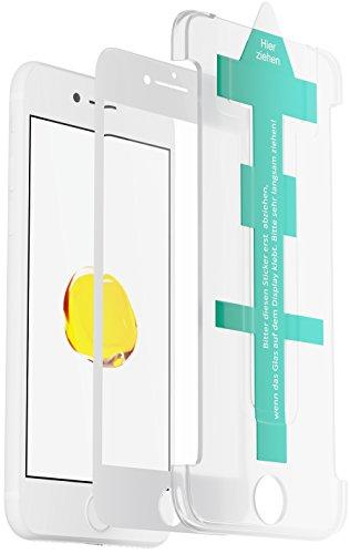 XeloTech 3D/4D Fullcover Panzerglas für iPhone 8/7 mit Schablone für perfekte Positionierung - Schützt komplettes Display - Full Cover Vollglas (Weiss)