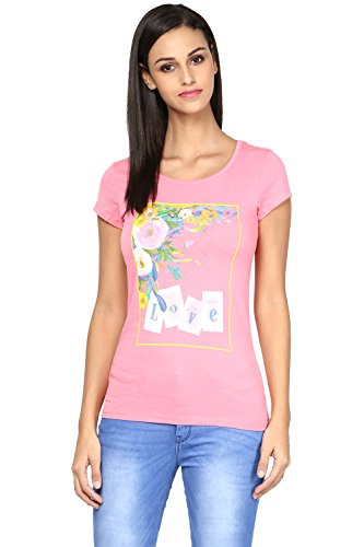 Honey by Pantaloons Women's Round Neck T-shirt (205000005652338, PINK, L)  available at amazon for Rs.239