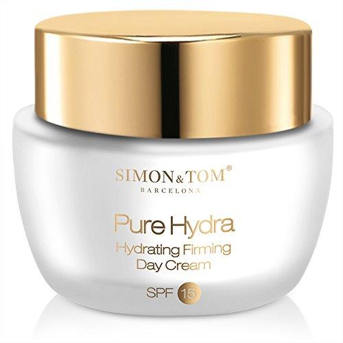 Simon & Tom Pure Hydra Hydrating Firming Day Cream SPF15 - Tagescreme für intensive Feuchtigkeitspflege mit Anti-Aging Effekt und UV Schutz ✔ Für alle Hauttypen ✔ Nicht fettend ✔ Ohne Parabene ✔ 50ml
