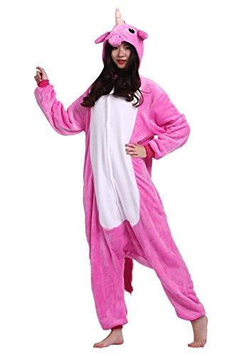 Wamvp Licorne Vetement Kigurumi Pyjama Adulte Unisexe Animal Costume Cosplay Combinaison -Rose rouge XL