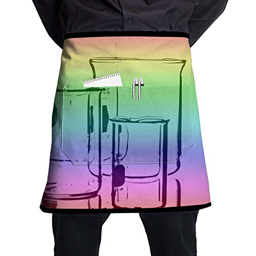 Pocket Half Length Short Waist Apron Chemistry Test Tube Color Cooking Apron with Pockets Home Kitchen Cooking Pinafore