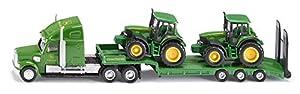 tractores: SIKU 1837  - Cargador de baja con los tractores John Deere (colores surtidos)