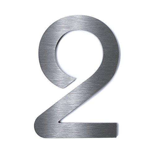 "Edelstahl Hausnummer - rostfreier V2A Stahl - Schriftart\""Bauhaus\"" - massiv & rostfrei - wählbares Befestigungsmaterial - pflegeleicht - Höhe: 200mm - Materialstärke: 2mm 2"