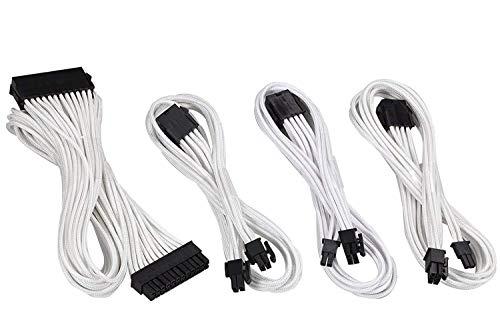 upHere Sleeved Cable - Kabelverlaengerung für die Stromversorgung mit extrahoeller 24 Pin / 8pin (4+4) M/B, 8pin (6+2) 50cm Verlängerungskabel Kit Weiss -