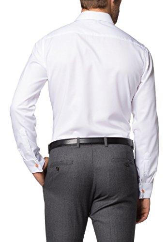 Eterna long sleeve Shirt SLIM FIT Natté structured Bianco