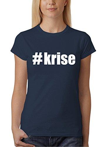 clothinx Damen T-Shirt Karneval #Krise Navy mit Weiß