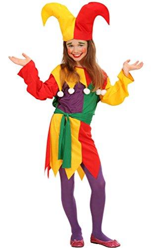 Kinder Hofnarr Kostüm - Karneval-Klamotten Narren Clown-Kostüm Kinder Mädchen Hofnarr-Kostüm bunt Kleid inkl. Narren-Hut Größe 128