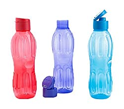 Signoraware Fliptop Aqua Plastic Bottle Set, Set of 3, 1 Litre, Multicolour