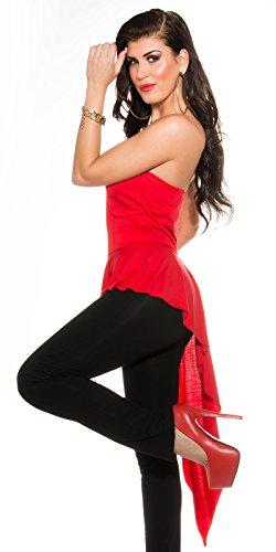 Koucla Eleganter Bandeau Overall - Jumpsuit Asymmetrisch Gr. S - XL in Versch. Farben (V92071) Rot