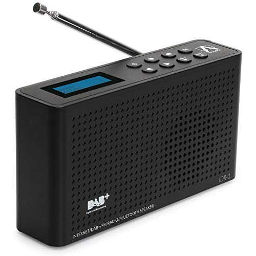 Anadol 4in1 IDR-1 Internet Radio/DAB+ / FM-UKW/Bluetooth Lautsprecher WLAN WiFi, DLNA, UPnP, tragbar, LCD-Display, Sleep-Timer, Akku, Netzbetrieb, Kopfhöreranschluss - schwarz (Lautsprecher Bluetooth Wifi)