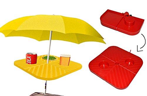 Preisvergleich Produktbild Sonnenschirm Tisch / Strandtisch z.B. für Strandurlaub - in rot ODER gelb - sehr stabil - Ablage für Schirmständer Schirmhalter - Halterung mit Tisch