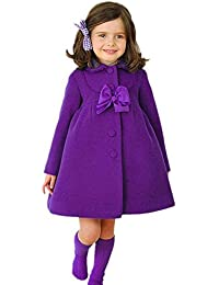 Highdas Little Girls bowknot coupe-vent automne hiver Outwear robe manteau 110-140