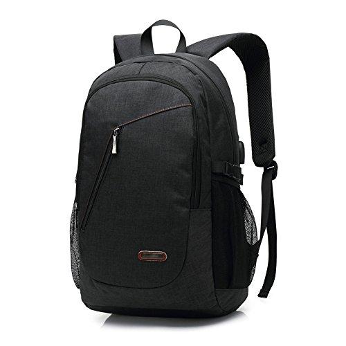 Preisvergleich Produktbild 15,6 Zoll USB Arbeitsrucksack / Business Rucksack / Laptop Rucksack für Männer und Frauen, schwarz leichte wasserdichte Schulter lässige Tasche für Schule, Arbeit, Reise (USB-6008)