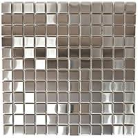 azulejos mosaico mosaico azulejos Acero Inoxidable Plata Brillante Cocina Baño Inodoro 8mm) # 710