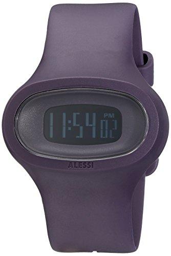 Alessi AL25004 - Reloj digital de cuarzo unisex con correa de plástico, color morado