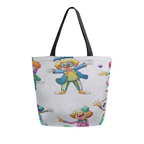 Lustige Zirkus Narr Clown Tragbare Große Doppelseitige Lässige Canvas Tragetaschen Handtasche Schulter Wiederverwendbare Einkaufstaschen Seesack Geldbörse Für Frauen Männer Lebensmittelgeschäft ()