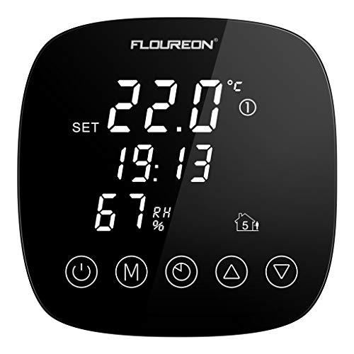 Thermostat Heizung programmierbar Wandthermostat Smart Digital Raumthermostat Thermostatheizkörper für Fussbodenheizung Elektrische Heizung Wandheizung mit Feuchtigkeitssensor LED Touchscreen schwarz -