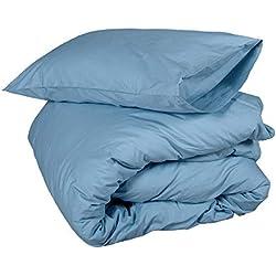 Homescapes 2 TLG Bettwäsche 135 x 200 cm Blau aus 100% Reiner ägyptischer Baumwolle Fadendichte 200
