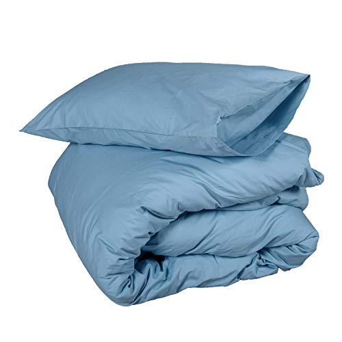 Homescapes Bettwäsche-Set 2-teilig Bettbezug 155 x 220 cm mit Kissenhülle 80 x 80 cm hellblau 100% reine ägyptische Baumwolle Fadendichte 200 Perkal-Bettwäsche -