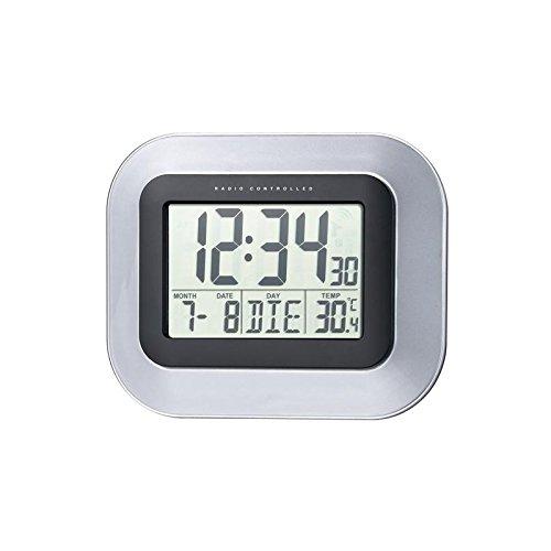 Technoline, WS 8005 Funk-Wanduhr, silber-schwarz, 22,6 x 3 x 18 cm Datum Und Uhrzeit-wand-uhr