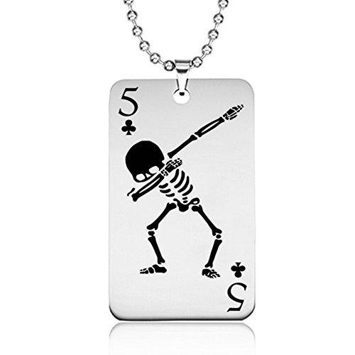 JIALONGZI Personality Spielkarten-Halskette, Ghost Form Kette Anhänger Totenkopf Fancy Kostüme Zubehör, 03#, ()