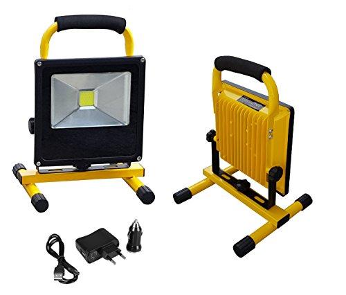 Hofftech COB LED Arbeitsleuchte Baustrahler, Tragbar , IP65, mit Akku, 1200 Lumen, IP65, 6400K, Inkl. 1x Autoladegerät 12V + Ladegerät (20W)