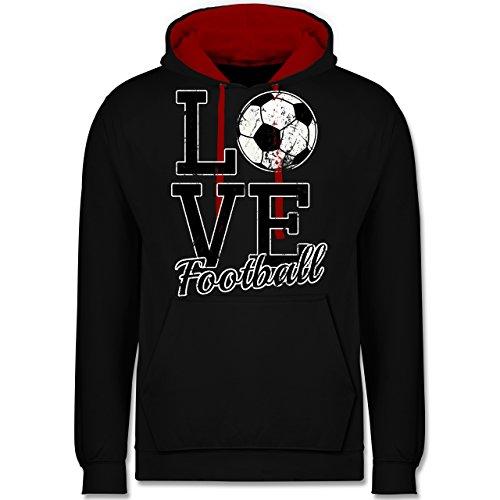 Fußball - Love Football - Kontrast Hoodie Schwarz/Rot