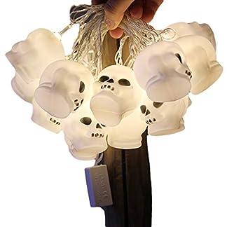 OTENGD Paquete de 2 Luces de Cadena de Calavera de Halloween, Luces LED de Calavera de 9 pies 16, Luces navideñas para decoración Interior al Aire Libre, para Decoraciones de Fiesta de Halloween