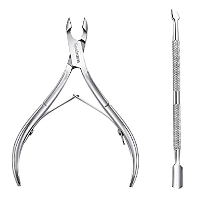 Cuticle Nipper, Saxhorn Cuticle Cutter and Remover with Cuticle Pusher for Dead Skin