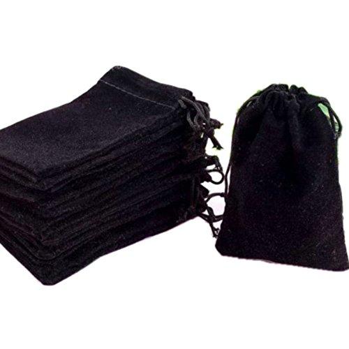 """Turkish HOSL 50 pezzi, colore: nero velluto borse in sacchetto regalo con gioielli, 7,62 cm X (3 10,16 (4 cm (50"""") pezzi), colore: nero"""