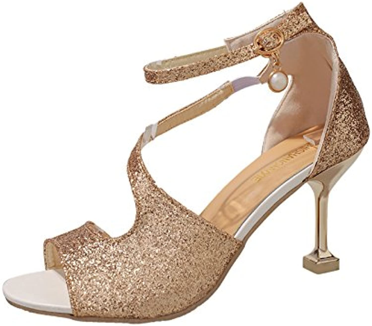The sanding cup and high heel of the women's shoes,Golden,Thirty-four
