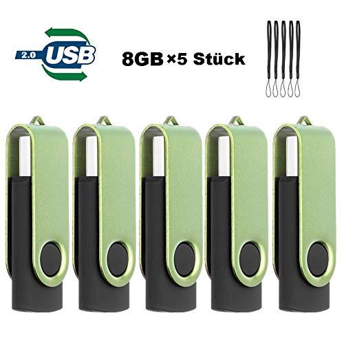 USB Stick 8GB, Speicherstick 5 Stück TEWENE Mini Flash Pen Drive USB2.0 Sticks 8 Gigabyte Metall (8GB, Grün) -