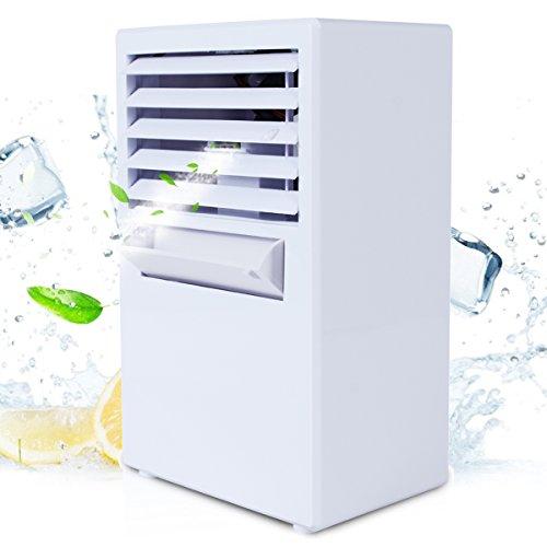 Cool Condizionatore Portatile - ABREOME 2-in-1 Mini Raffrescatore Evaporativo Umidificatore Purificatore D'aria Climatizzatore con Raffreddamento ad Acqua per Casa/Ufficio/Camper
