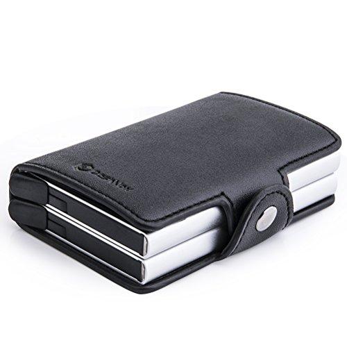 Kreditkartenetui aus Polyurethan Leder - CashNox Geldbeutel, Geldbörse & Portmonee Damen & Herren, Mini Kartenetui, RFID Wallet für Kreditkartenschutz (Schwarz mit 2 Metallboxen)