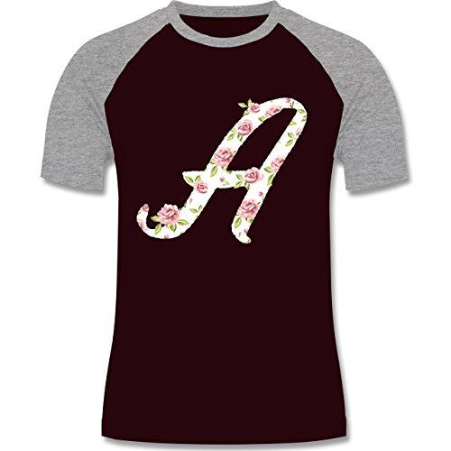 Anfangsbuchstaben - A Rosen - zweifarbiges Baseballshirt für Männer Burgundrot/Grau meliert