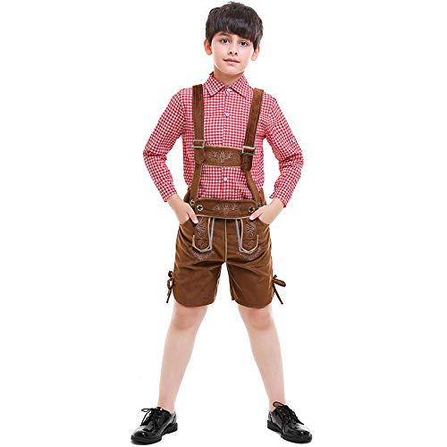 EDtara Oktoberfest Bekleidung Zubehör Kinder Jungen Oktoberfest Kostüm Anzug Karo Muster Bayerischen Stil Sticken Kostüm Rotes Plaid L (Kostüm Muster Kinder)